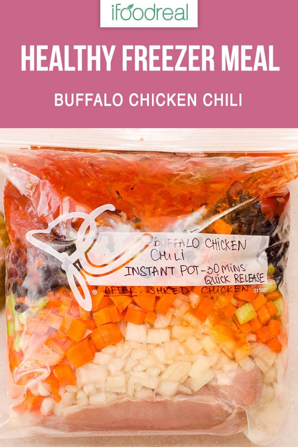 Healthy Buffalo Chicken Chili Recipe made in slow cooker or Instant Pot with chicken breast, Frank's Red Hot sauce and blue cheese. Also how to make into a freezer meal instructions.