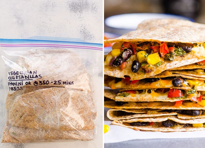 vegetarian quesadilla freezer meal