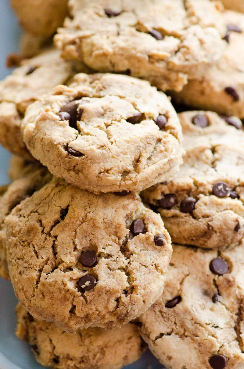 These Almond Flour Chocolate Chip Cookies are uber easy and delicious. Thick, with a bit of crunch and chewiness, this recipe is always doubled in our house.