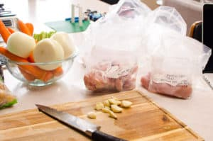 assembled Healthy Freezer Meals in bags for New Moms