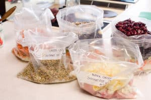 5 bags with Healthy Freezer Meals on a Budget