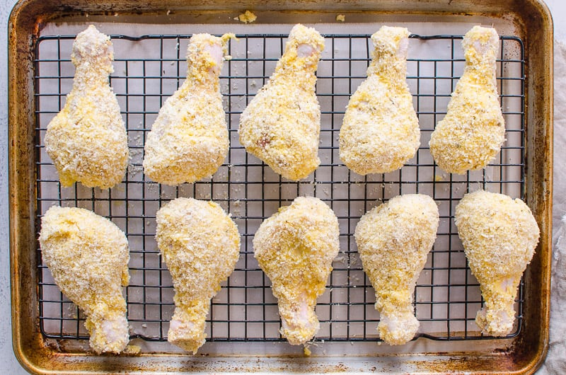 How to bake EASY crispy fried chicken at only 320 calories per piece and without buttermilk, oil or flour.