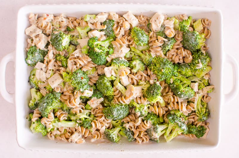 Almost One Pot Healthy Chicken Broccoli Casserole Recipe that is saucy with firm pasta and crunchy broccoli. No canned soup, cheesy, easy, kids love it and it's healthy.