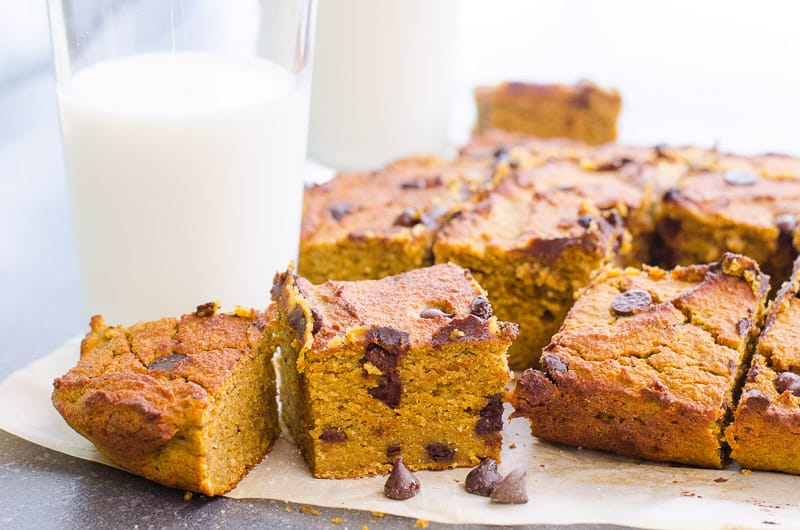 healthy pumpkin bars on parchment paper with a glass of milk