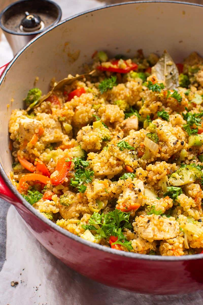 Chicken Quinoa in red pot