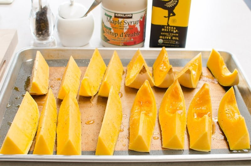 Learn how to bake butternut squash in the oven with NO PEELING or cubing and simple seasoning. It's a 5 minute prep dream!