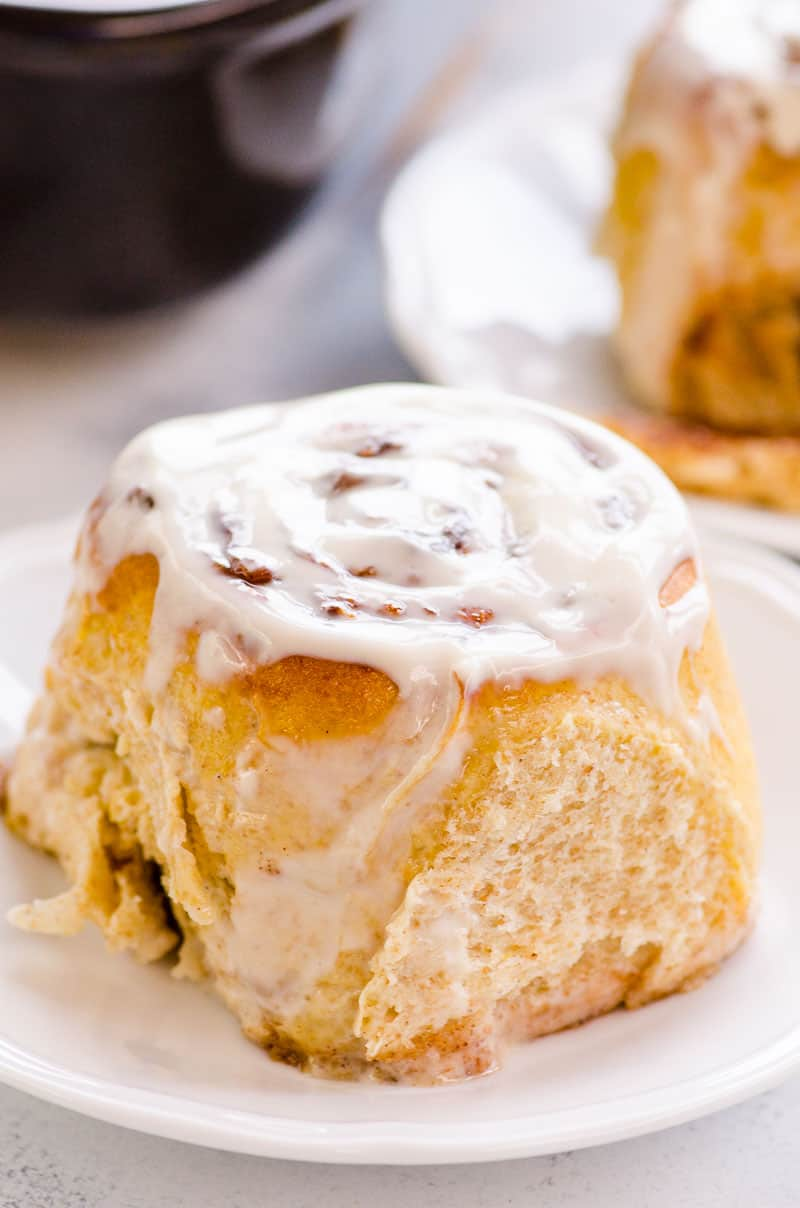 Healthy Cinnamon Roll frosted with yogurt frosting