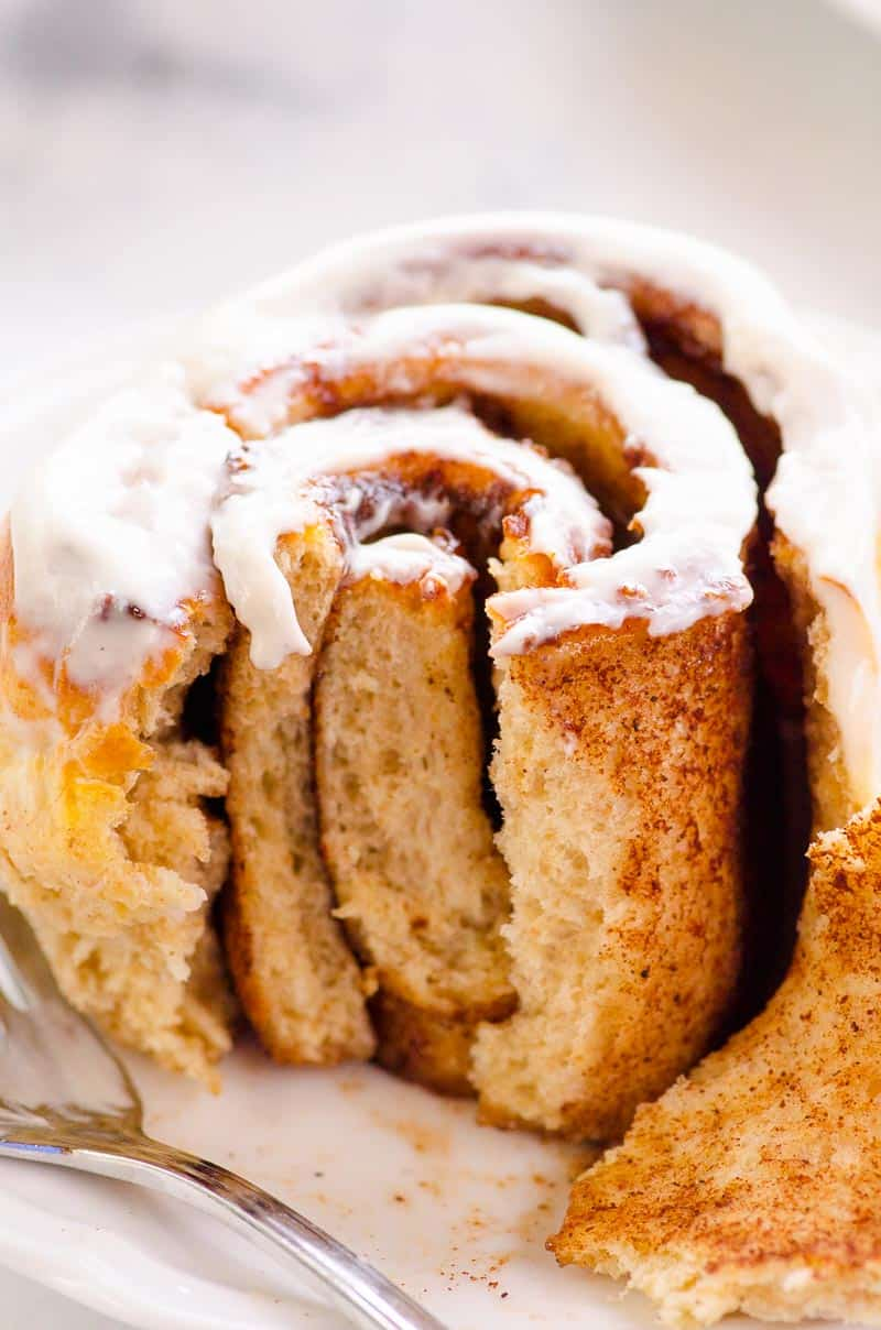 Healthy Cinnamon Rolls inside with cinnamon filling bite taken out