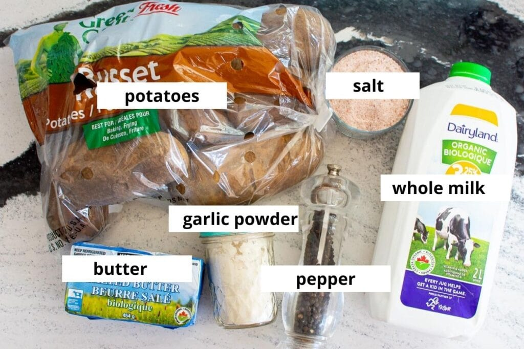 ingredients for healthy mashed potato recipe
