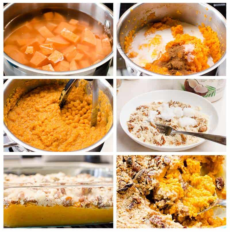 How to make Easy Healthy Sweet Potato Casserole without marshmallows. Delicious and simple recipe with make ahead tips. It is so airy, fluffy and comforting! A perfect sweet addition to your Thanksgiving table.