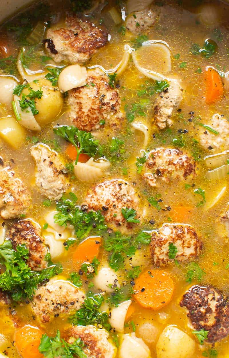 Turkey Meatball Soup with pasta and garnished with parsley