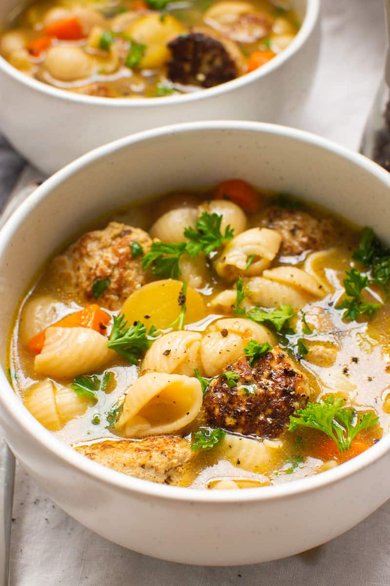 Turkey Meatball Soup in white bowls