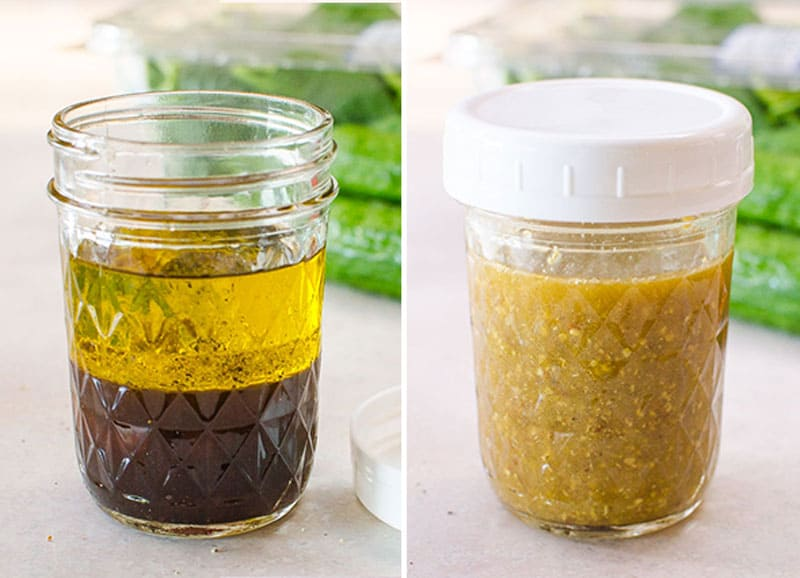 spinach salad dressing in a jar