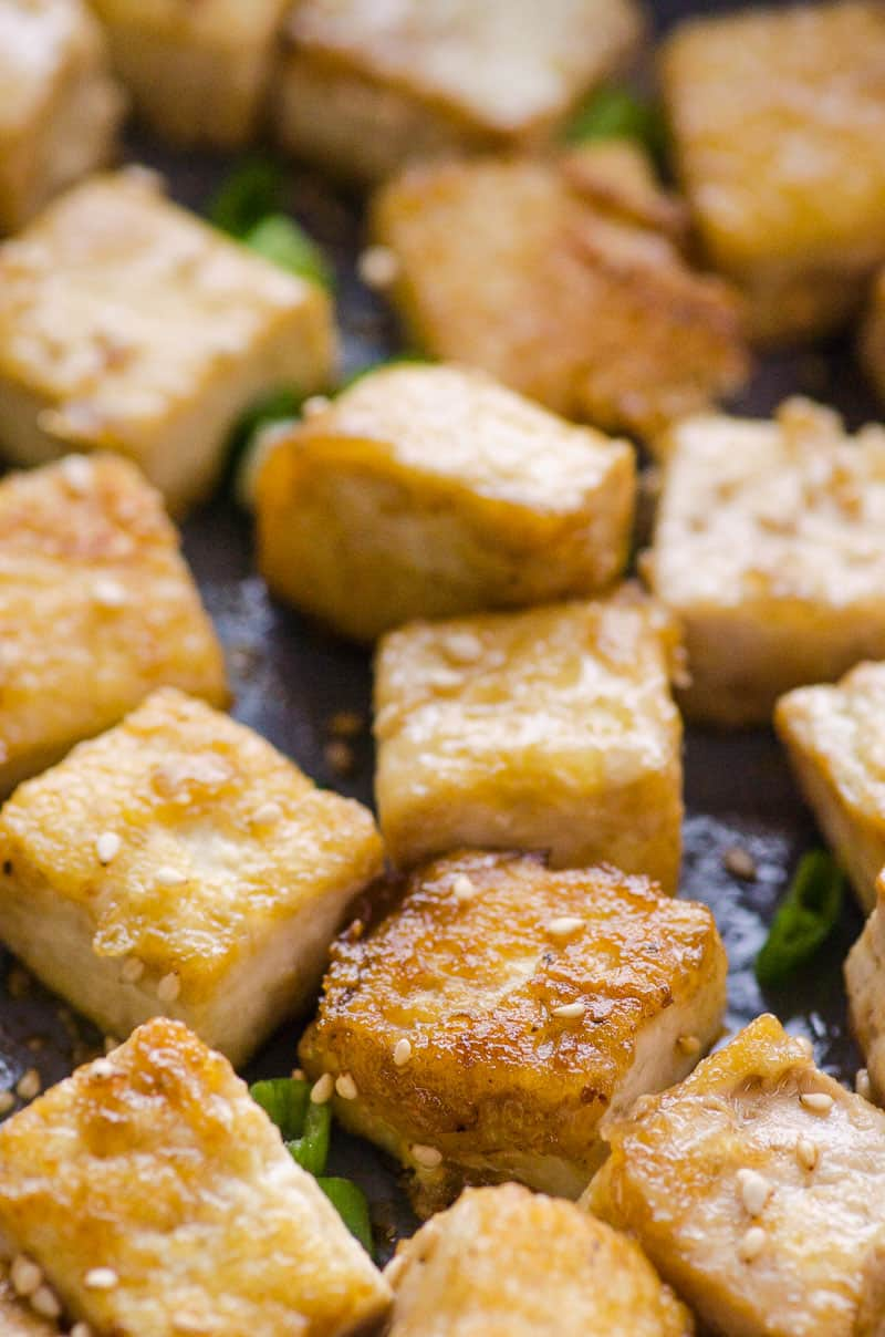 Crispy Pan Fried Tofu close-up