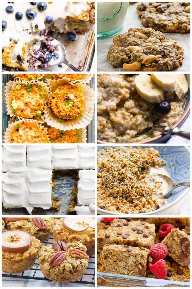 easy breakfast ideas include baked oatmeal bars, quinoa bake, sugar free cookies, instant pot steel cut oats