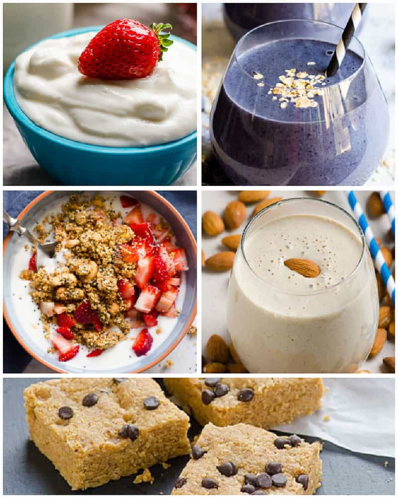 smoothie, granola and no bake bars for healthy breakfast on the go
