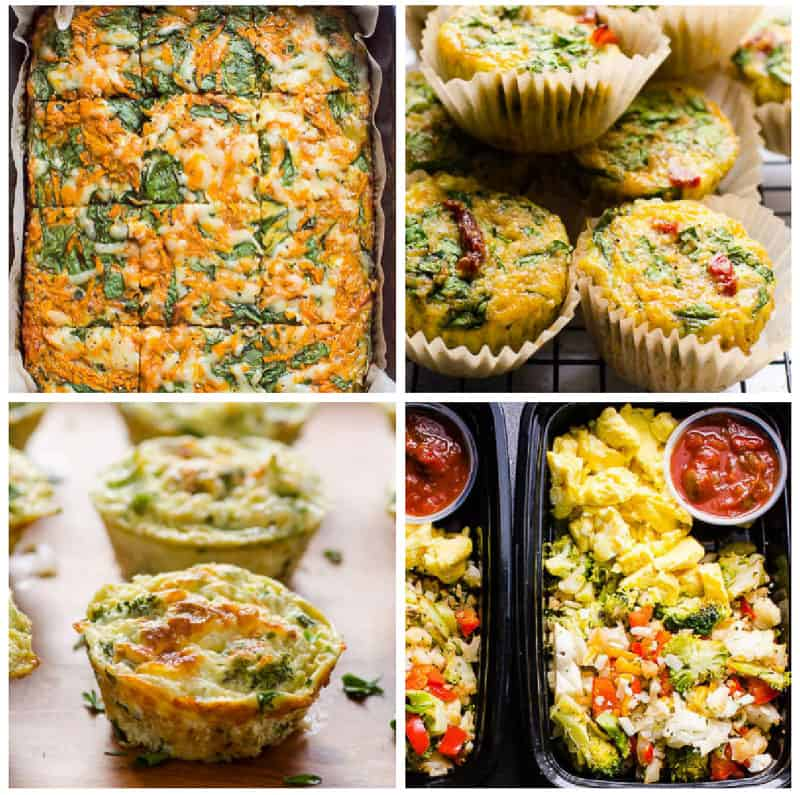 egg casserole, egg muffins and breakfast meal prep for easy healthy breakfast on the go