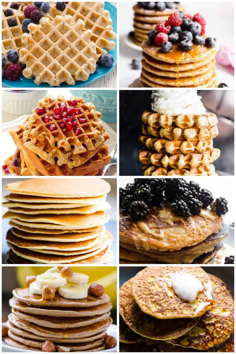 breakfast ideas include whole wheat waffles, pancakes, protein waffles and flourless pancakes
