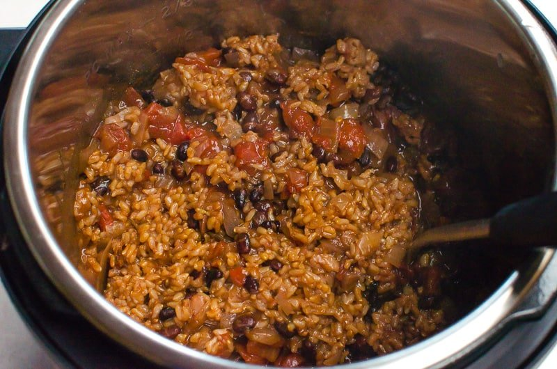 Instant Pot Rice and Beans inside electric pressure cooker