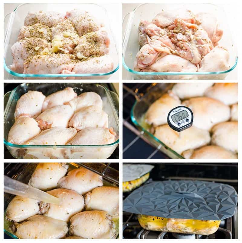 how to cook chicken thighs in the oven step by step