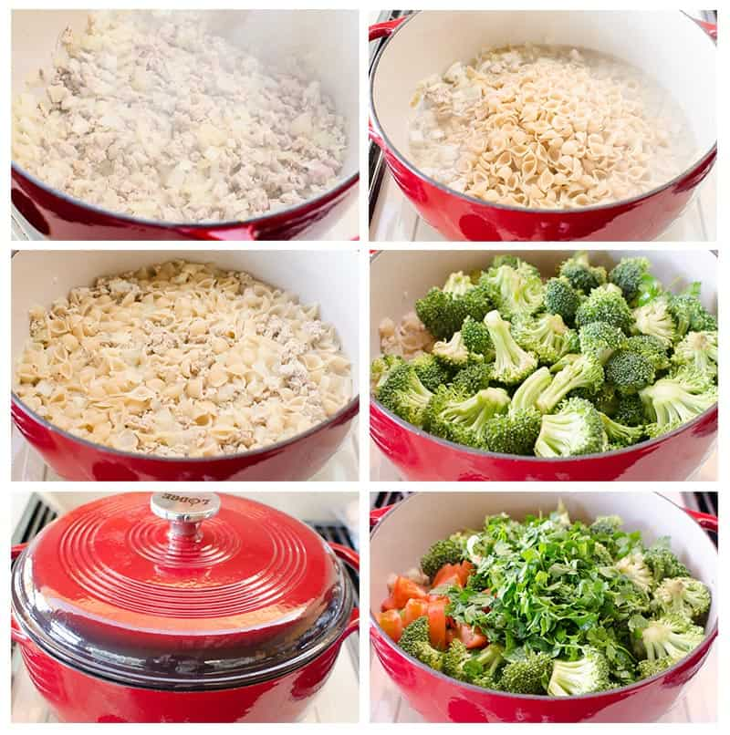 how to make ground turkey and broccoli pasta step by step