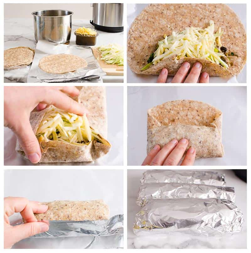 how to wrap a chicken burrito step by step