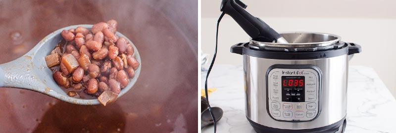 sopa instantánea de frijoles negros en una cuchara;  olla instantánea con licuadora de inmersión