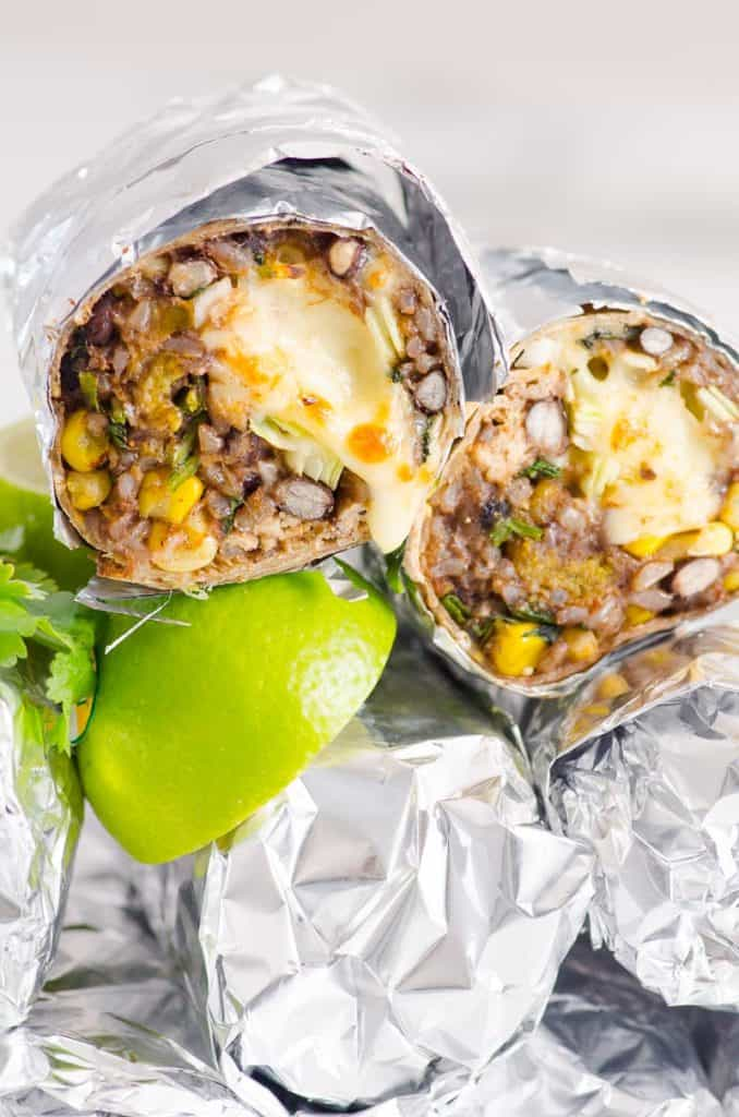 chicken burritos wrapped in tin foil