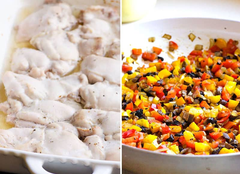 baked chicken and sauteed veggies in a skillet