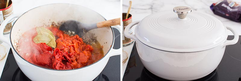how to make meat sauce - adding tomatoes and cooking for 45 minutes