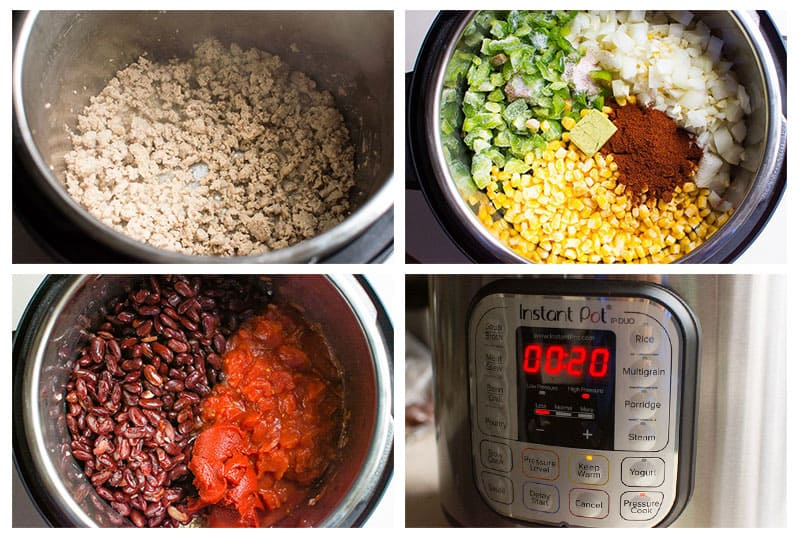 Instant Pot chili ingredients added in order