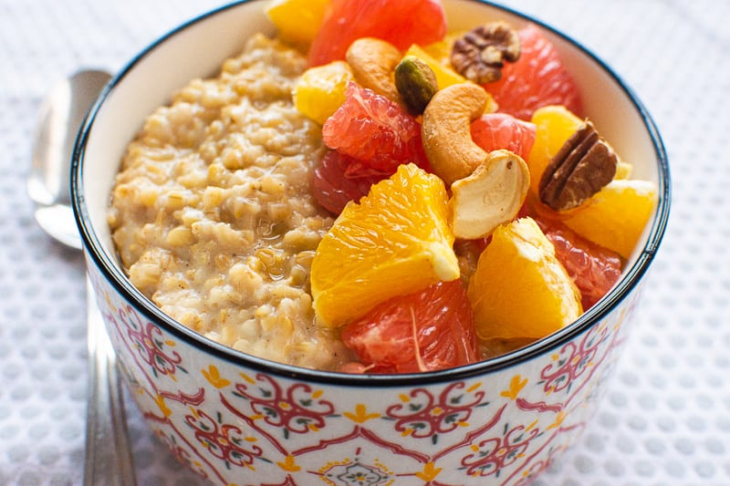 Instant Pot Steel Cut Oats with fruit in a bowl