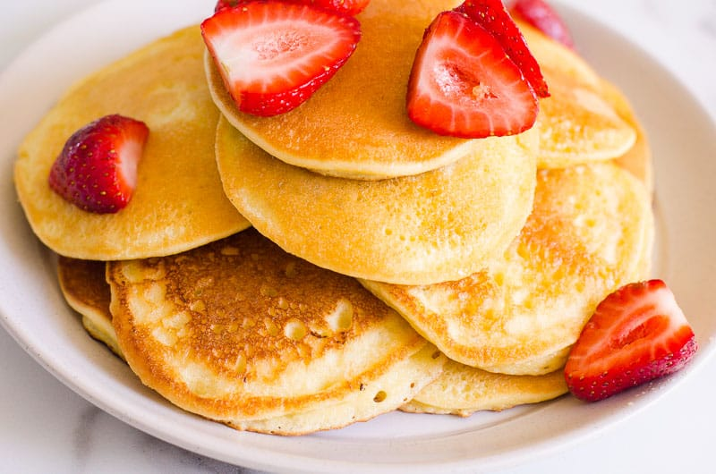 pancakes on a plate with strawberries
