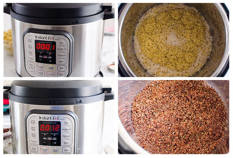 instant pot display with different cooking times and cooked quinoa