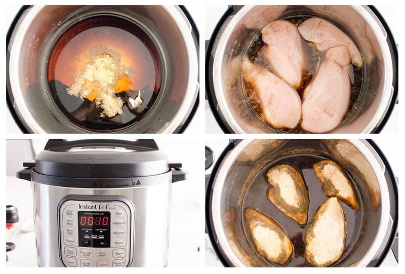 chicken breasts and homemade teriyaki sauce ingredients before cooking in instant pot