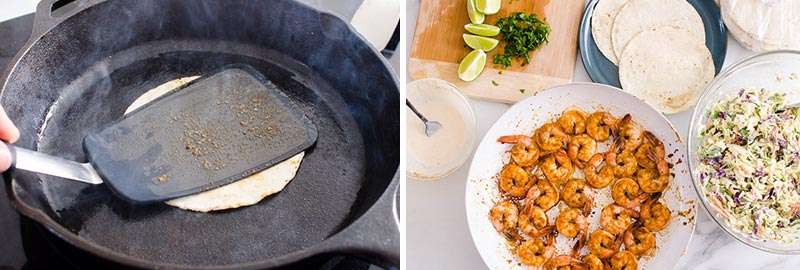 tortilla in a skillet and all ingredients ready to assemble shrimp tacos
