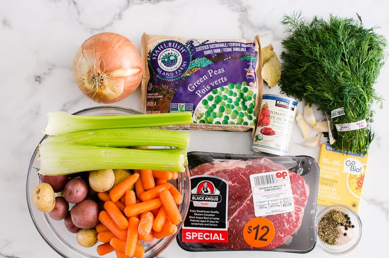 onion, carrots, celery, potatoes, peas, stew meat, tomato paste and dill ingredients for instant pot stew