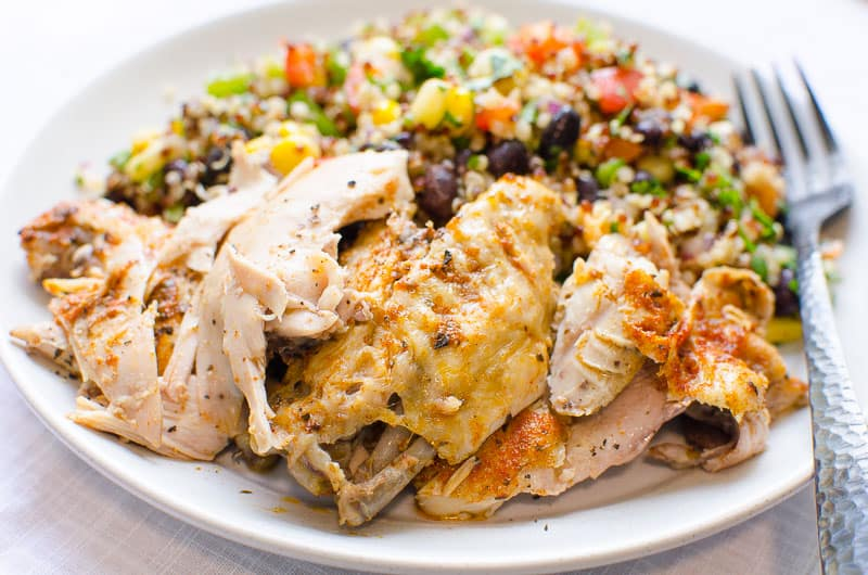 instant pot frozen chicken served with quinoa salad