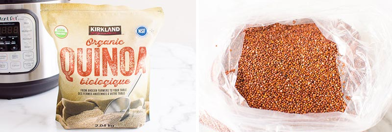 white and red quinoa in a bag