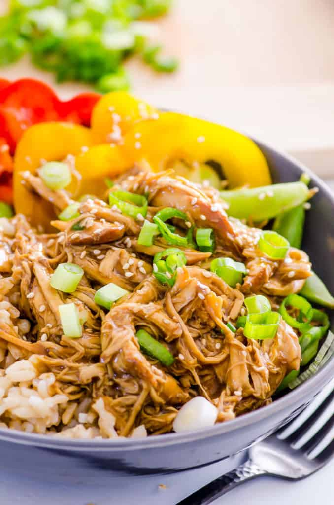pressure cooker teriyaki chicken served in a bowl with vegetables