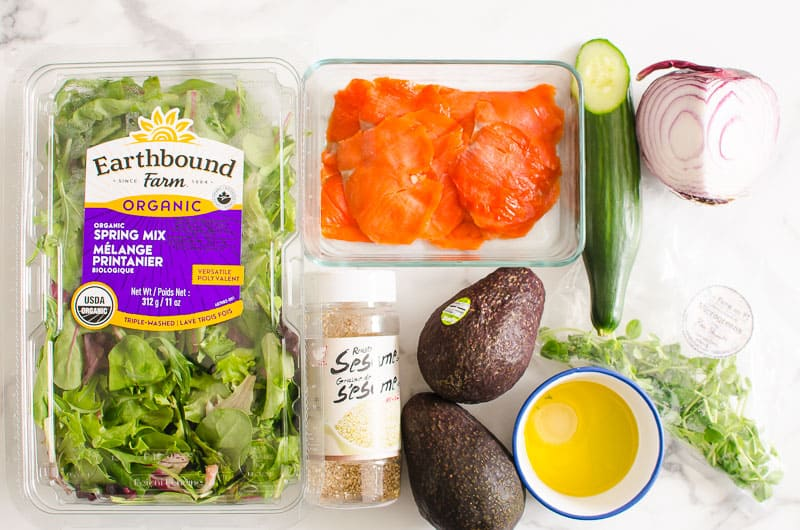 ingredients for smoked salmon avocado salad