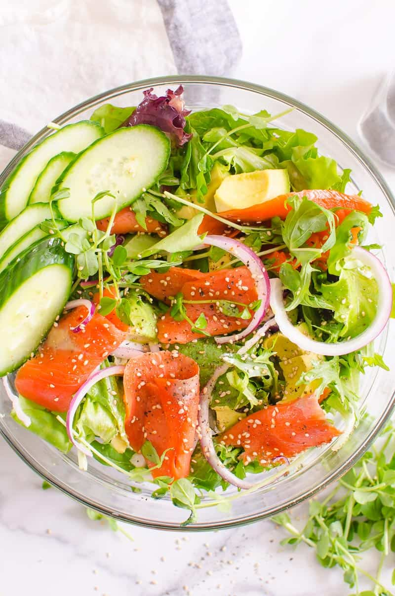 Smoked Salmon Salad in glass bowl
