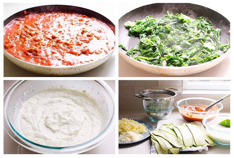 turkey meat sauce, spinach and cottage cheese mixture for healthy lasagna