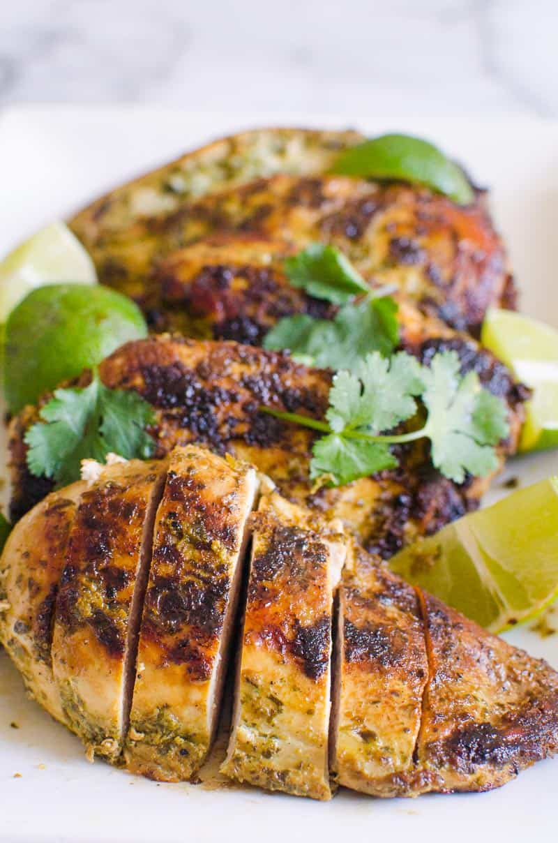 sliced cilantro lime chicken on a platter