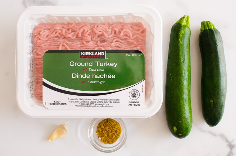 ground turkey, zucchini, cumin, garlic are ingredients to make turkey burgers