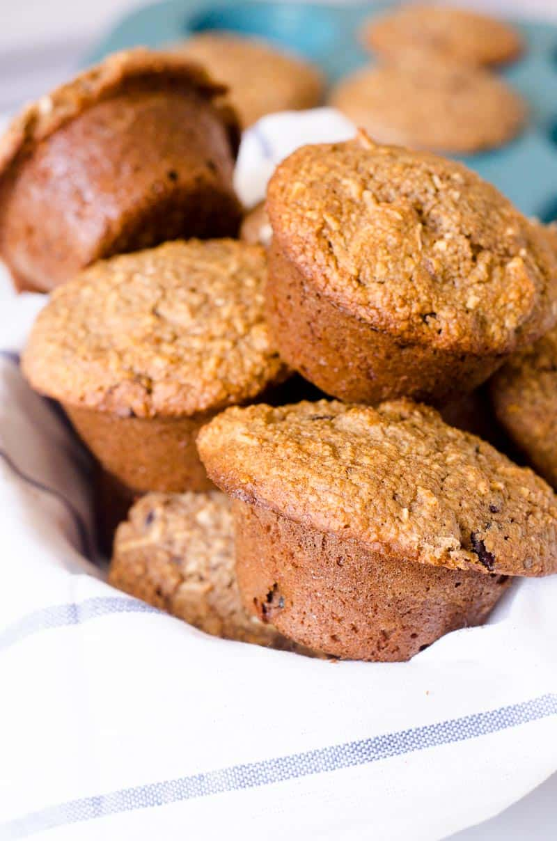 morning glory muffins stacked in a bowl