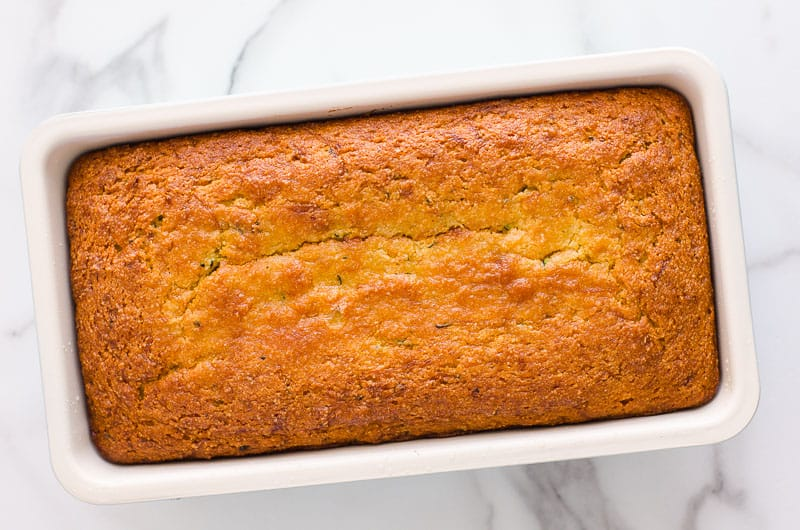 lemon zucchini bread recipe baked in a tin