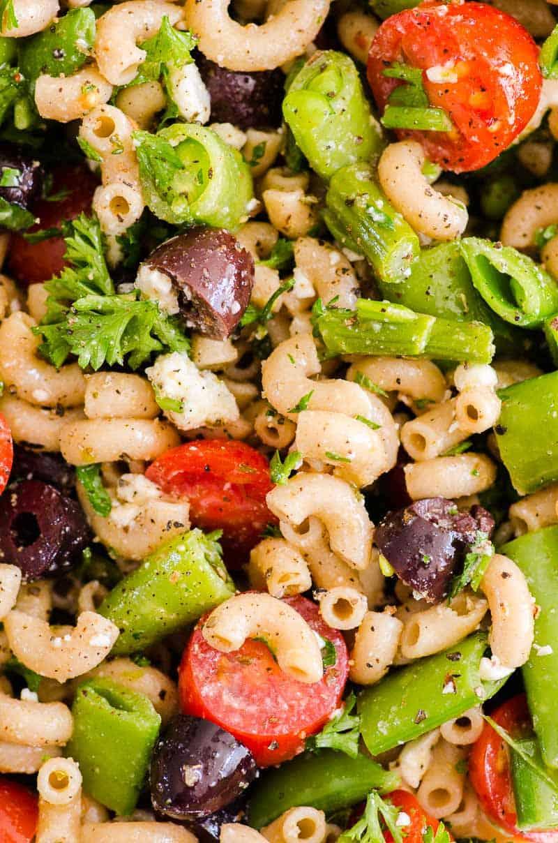 closeup pasta salad