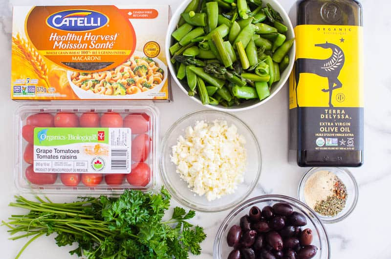 pasta, asparagus, tomatoes, feta cheese, olives, parsley, olive oil