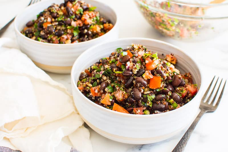 Quinoa Black Bean Salad in serving bowls